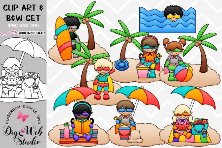 Clip Art / Illustrations - Summer Superhero Kids