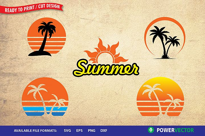 Summer Clipart Set SVG - Sunset, Palm Tree Vector