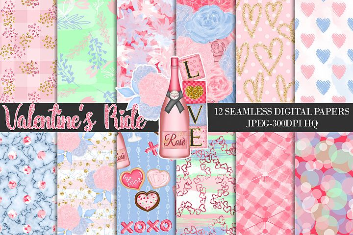 Valentines Ride Digital Papers, Love Romance Backgrounds