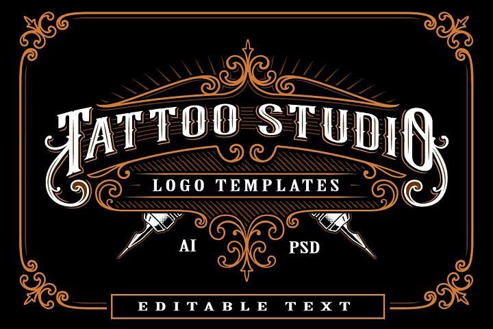 Set of vintage tattoo studio logos.