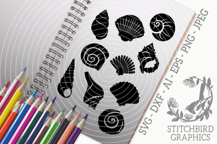 Shells Bundle SVG, Silhouette Studio, Cricut, Eps, Jpeg, Png