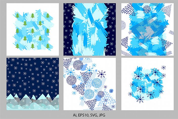 6 winter colorful backgrounds