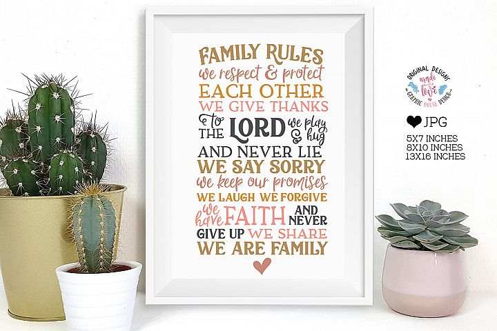 Family Rules Home Art Printable