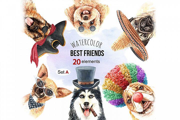 Dog watercolor. Pet clipart Set A