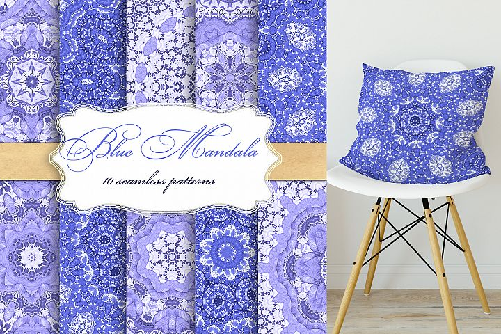Blue seamless patterns . Mandala, circular ornaments .