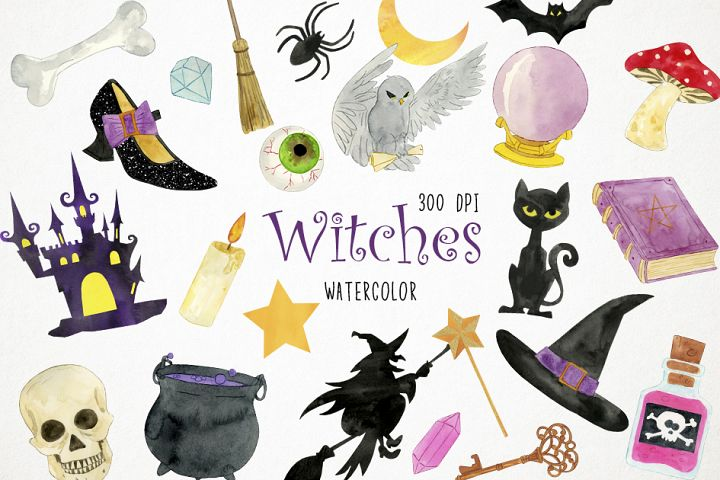 Watercolor Witches Clipart, Witches Clip Art, Witches PNG