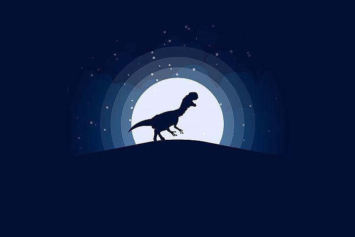 TRex Jurassic Night Scene Illustration