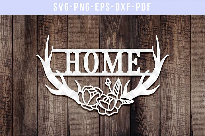 Home Antler Papercut Template, Door Hanger Design, SVG, PDF