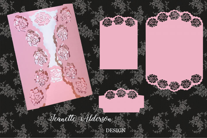 SVG May Roses Gatefold Card Cutting File