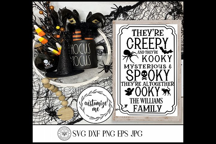 Halloween Family Last Name Cutting File Creepy and Kooky