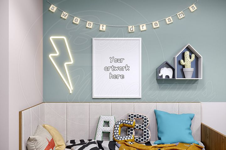 Baby room frame mockup styled stock