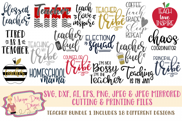 Teacher Bundle 1 SVG, DXF, AI, EPS, PNG, JPEG
