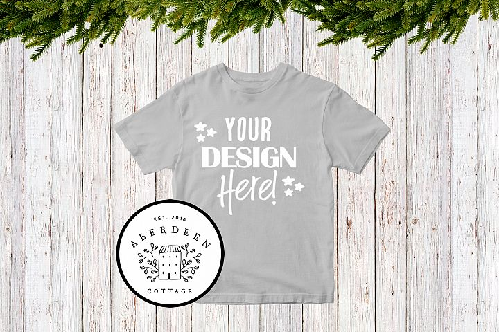 Childrens Christmas Grey T-Shirt Mock Up Style 1