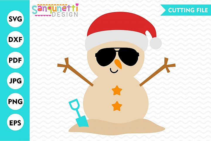 Beach snowman SVG, Tropical Santa cutting files