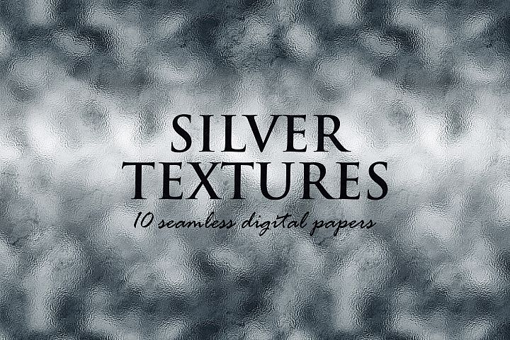 10 Silver Digital Papers - Foil and Glitter Textures