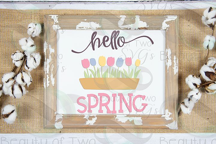 Hello Spring svg, Spring Flowers svg, Spring Tulips svg