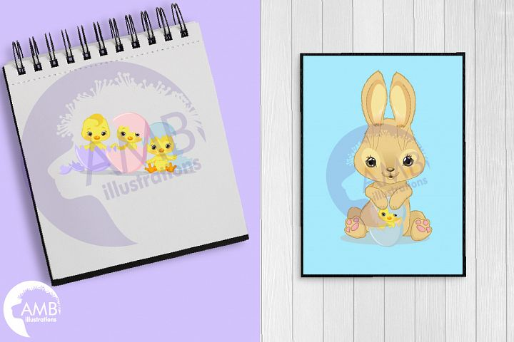 Bunnies and chicks easter clipart, AMB-2729 example image 3