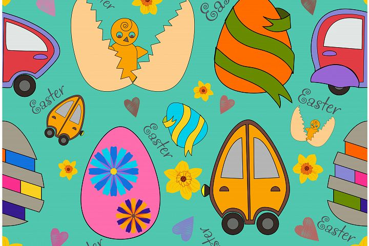 Easter eggs_seamless pattern