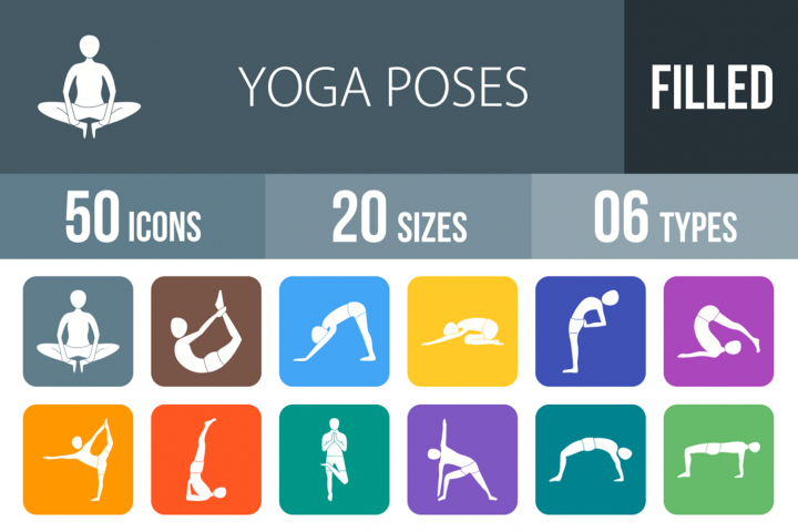 50 Yoga Poses Filled Round Icons