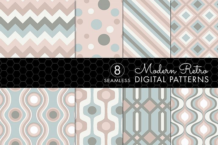8 Seamless Retro Modern Patterns - Pink, Ivory & Green