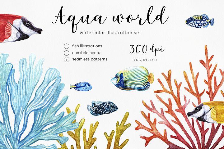 Watercolor illustrations. Fish & Coral. Aqua world. Water