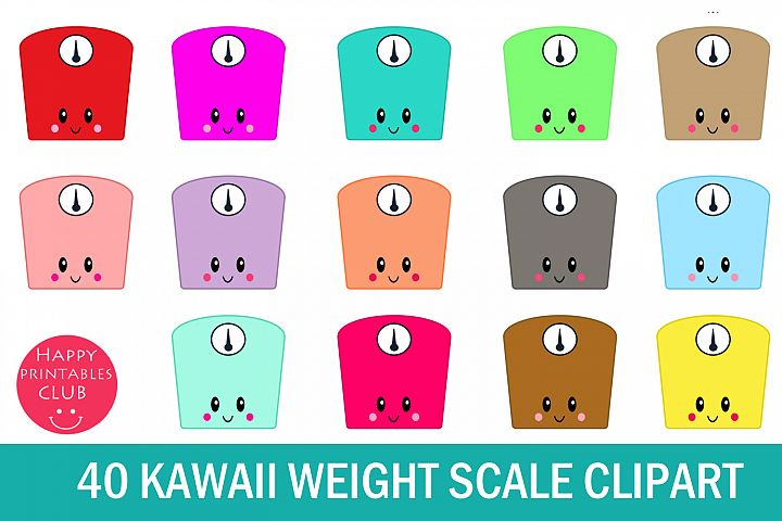 40 Kawaii Weight Scale Clipart- Weighing Scale Clipart