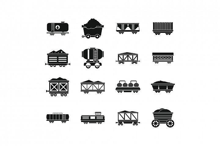Railway carriage icon set, simple style