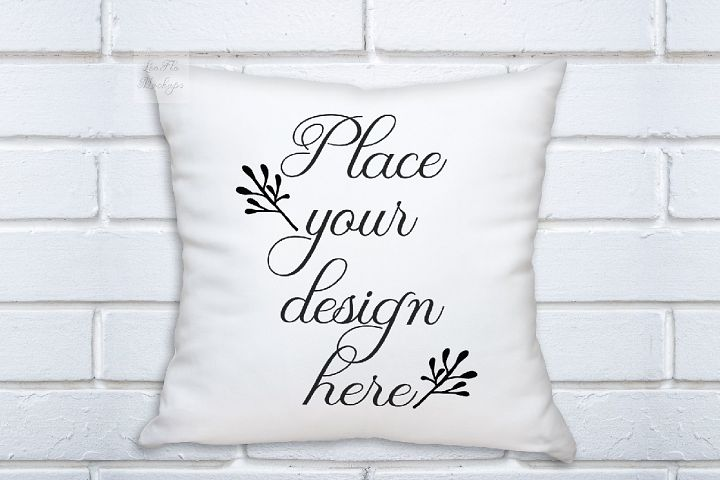 White pillow square mockup template white background mock up