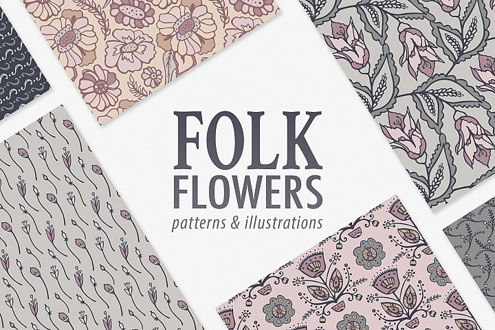Hand Drawn Vector Floral Patterns & Illustrations