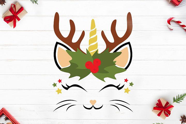 Caticorn svg christmas, Winter, Christmas ,Cat Unicorn head