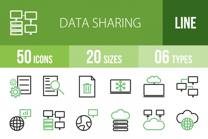 50 Data Sharing Line Green & Black Icons