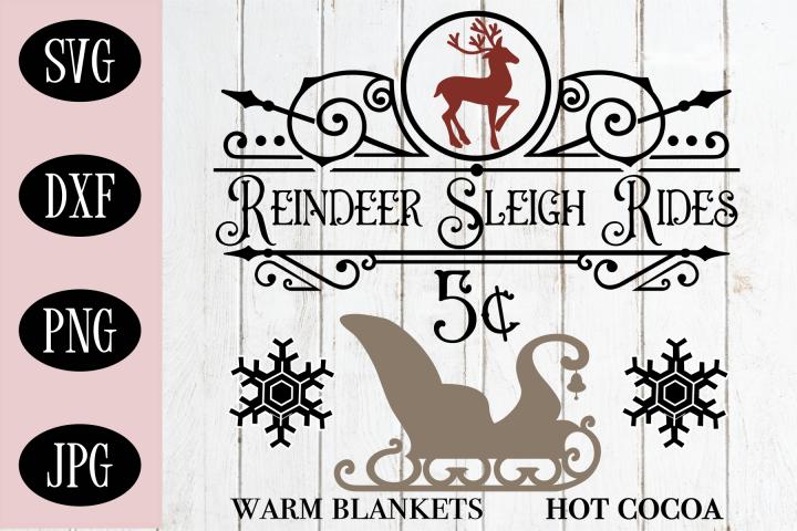 Christmas Sign SVG | Reindeer Sleigh Rides SVG