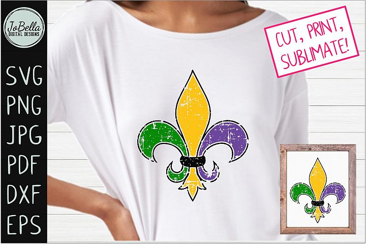 Distressed Fleur De Lis SVG, Sublimation PNG & Printable