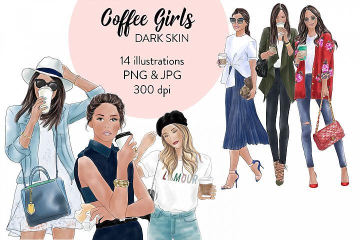 Coffee Girls 1- dark skin watercolour fashion clipart
