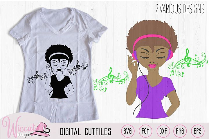 Afro DJ girl, Soul sister, Music girl, headphone and Music