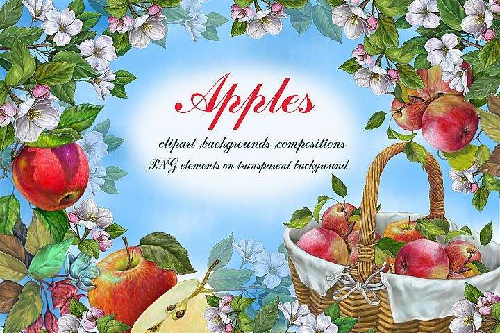 Apples Clipart-Basket of Apples