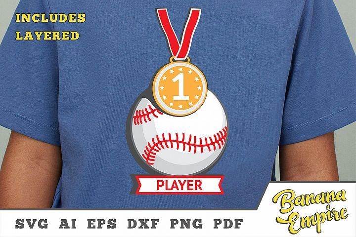 Baseball Player Design svg, Baseball Cut file, gold medal