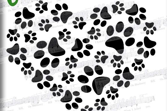 Paws Print Heart -Paw Print SVG - Paw Prints pattern - Paws