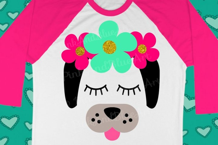 Dog Flowers Summer Girl SVG Design