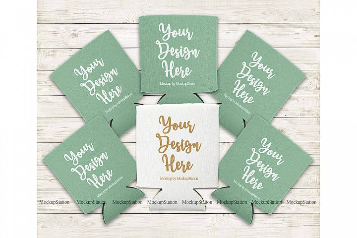Bride Mint and White Can Coolers Mockup, Wedding Favor Set