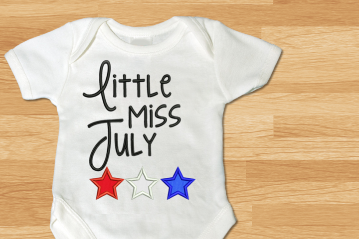 Little Miss July Stars Applique Embroidery Design