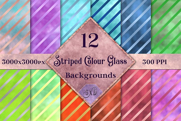 Striped Colour Glass Backgrounds - 12 Image Textures Set