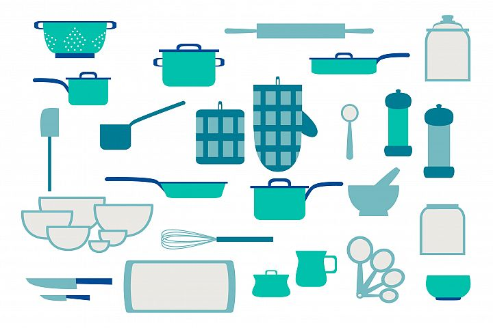 Collection of kitchenware and cookware of kitchen utensils
