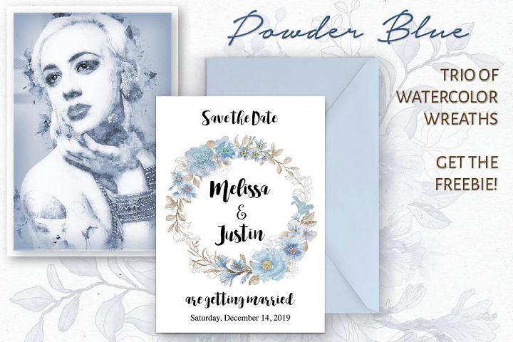 Set of 3 watercolor wreaths in powder blue - plus Freebie