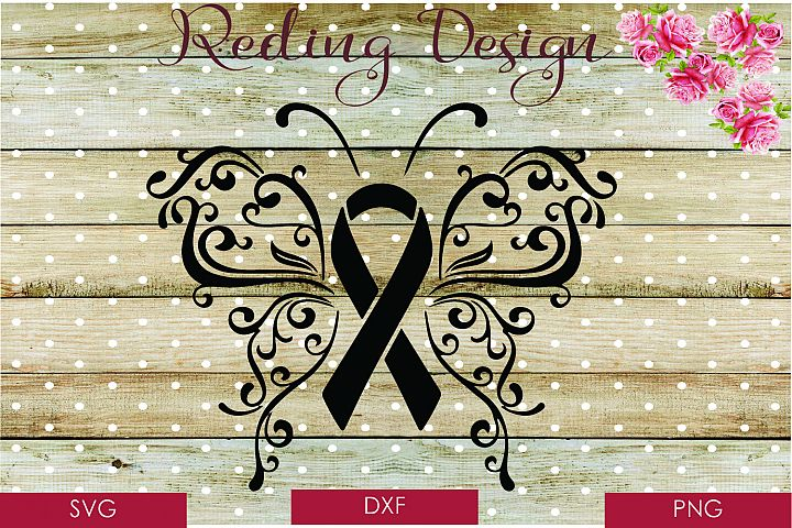 Butterfly Awareness Ribbon SVG DXF PNG Digital Cut Files