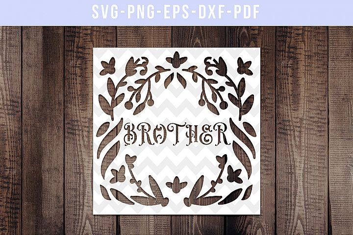 Brother Papercut Template, Family Clip Art, SVG, PDF, DXF