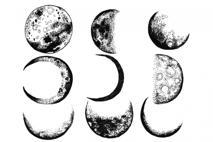 9 hand drawn magic ink moon phases