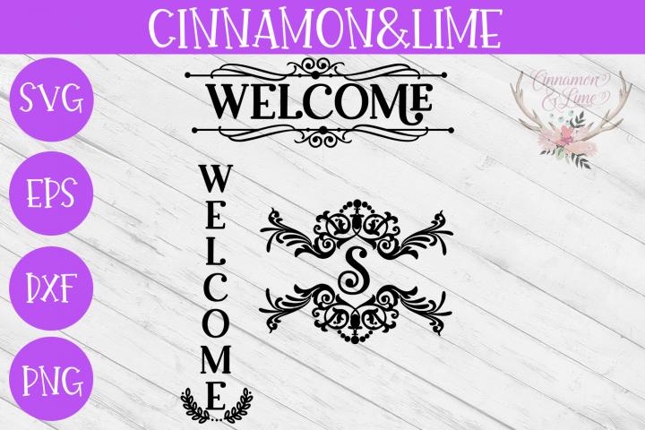 Welcome Vintage Wood Sign SVG Plus Monogram Frame