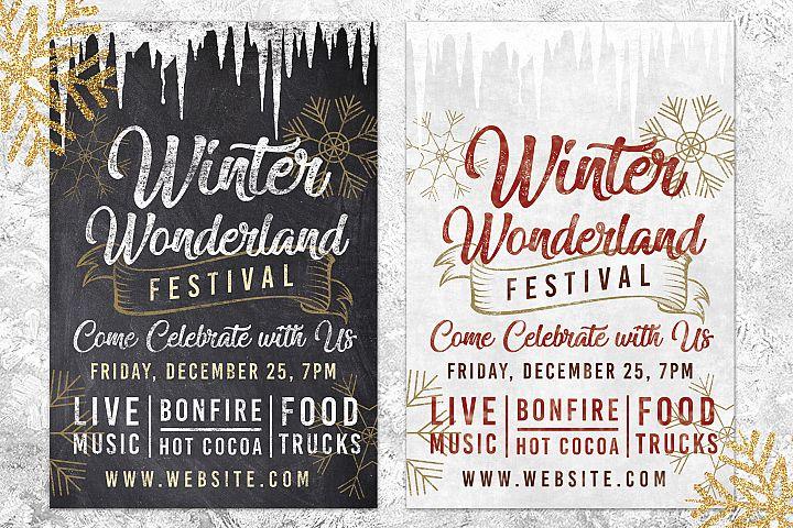Chalk Christmas Winter Wonderland Holiday Flyer Invite