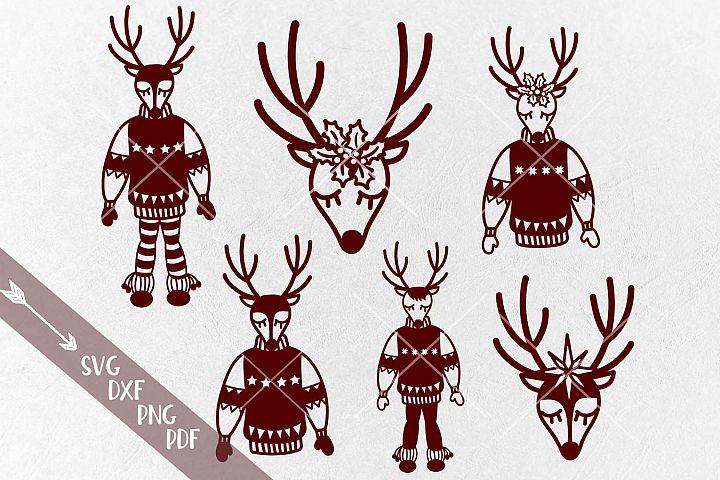 Christmas Reindeers bundle Deer Face in Ugly sweater svg cut